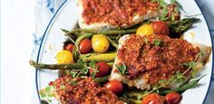 Delicious roasted fish and tomato tray bake