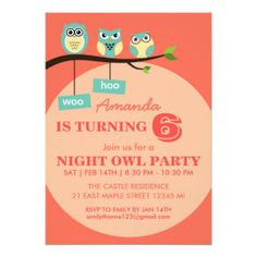 Polka Dots Owl #Birthday #Invitation for kids coral color