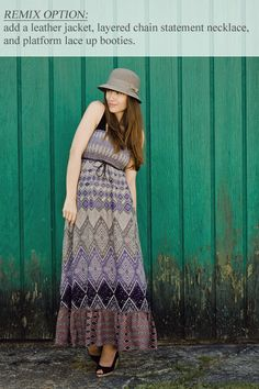 Veronika of the blog, #Girl & #Closet styles #Frock #Candy's Mayan Belted #Maxi #Dress