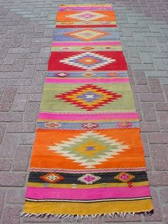"Modern Bohemian Home Decor/ Vintage Handwoven Wool Turkish Runner Kilim Rug Carpet 25,5"" X 107,4"""