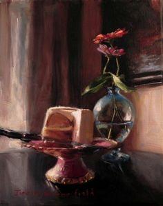 Jonelle Summerfield Oil Paintings: Cake and Zinnias