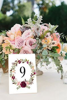 Wedding Table Numbers Printable Table Numbers Floral Table Numbers 1-30 Boho Chic Wedding Decor 4 x 6 Banquet Table Numbers Instant Download