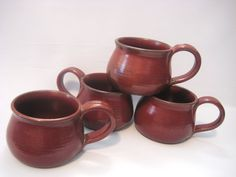 Four Coffee Tea Mugs Set Handmade Pottery Earthy by pottersong