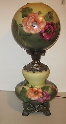 """Gone with the Wind Green 26-1/2"""" Hurricane Lamp, H.P. Flowers, Unusual Shape"""