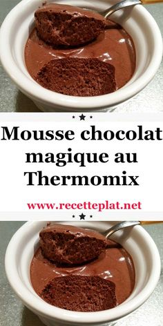 Magic chocolate mousse with thermomix. Here is a delicious dessert recipe, Magic chocolate mousse, simple and easy to make with the thermomix. Desserts With Biscuits, Desserts For A Crowd, Diabetic Desserts, Desserts To Make, Köstliche Desserts, Chocolate Desserts, Delicious Desserts, Dessert Recipes, Magic Chocolate