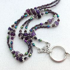 Deep purple agates with lovely aurora borealis crystals -Handmade ID Badge Lanyards, Badge Reels, Eyeglass Chains Lanyard Necklace, Diy Necklace, Necklaces, Beaded Lanyards, Purple Agate, Sterling Silver Cross Pendant, Homemade Jewelry, Bridal Jewelry Sets, Agate Beads