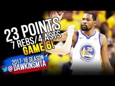 eb2aeeb97107 Kevin Durant Full Highlights 2018 WCF GM6 Golden State Warriors vs Rockets  - 23-7-4