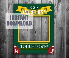 Packers photo booth frame, digital download, nfl green bay photobooth selfie prop, packers party ideas, packer fan, green and yellow by YouGrewPrintables on Etsy