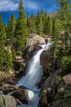 Alberta Falls No 2 - From the Rocky Mountain National Park, near Estes Park, Colorado. by Scott Smith Photography from the Rocky Mountain National Park album. Beautiful Waterfalls, Beautiful Landscapes, Rocky Mountains, Places To Travel, Places To See, Seen, Rocky Mountain National Park, Adventure Is Out There, Amazing Nature