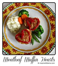 Do you make a special meal for Valentines Day?  Here's a simple recipe for the kids to help with - Heart Meatloaf Muffins at B-InspiredMama.com.