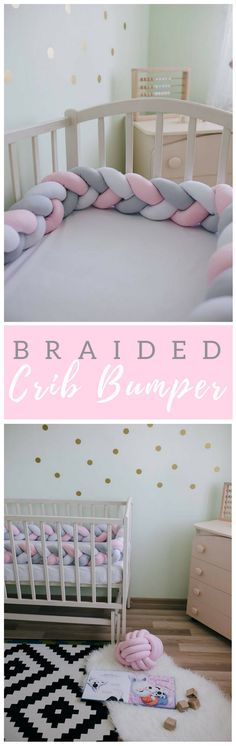 Cute braided crib bumper for the baby girl | nursery decor | nursery ideas | nursery inspiration | baby girl | bed bumper (Affiliatelink - I will earn a small commission if you purchase through this link - no additional cost for you)