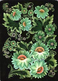both types of green flowers Russian Folk Art, Ukrainian Art, One Stroke Painting, Tole Painting, Folk Art Flowers, Flower Art, Art Populaire Russe, Polish Folk Art, Floral Vintage