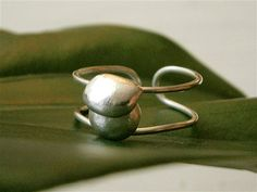 Contemporary sterling silver pebble ring