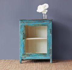 Originals Furniture - Single Door India Cabinet. #Turquoise #Distress #Home #Styling #Contemporary