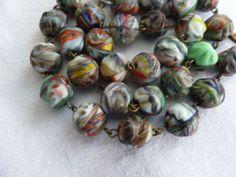 Art Deco Czech Rainbow Marble Art Glass Bead necklace on Metal Links
