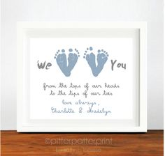 Father's Day Gift from Twins - Personalized Gift for New Dad - We Love You Baby Footprint Art - Gift for Grandpa, Grandfather. $35.00, via Etsy.