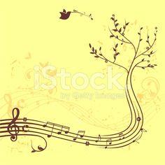 Music tree banner arte vettoriale stock royalty-free