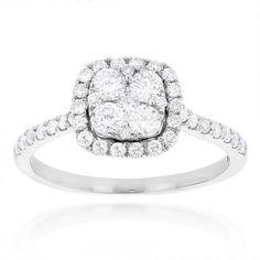Luxurman 14k Gold 1ct TDW Diamond Engagement Ring (H-I, SI1-SI2) (14K White Gold Size 5.5), Women's