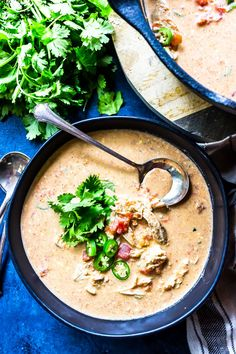 This Keto Queso Chicken Soup is absolutely bowl licking good. It's a great low-carb soup that's perfect for cooler weather. Diet Soup Recipes, Ketogenic Recipes, Low Carb Recipes, Keto Foods, Ketogenic Diet, Healthy Recipes, Yummy Recipes, Healthy Food, Recipies