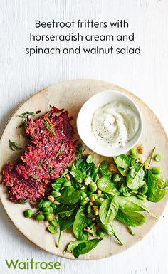 Vibrant beetroot fritters with a side of broad bean, spinach and walnut salad is a delicious vegetarian alternative to a beef burger. Serve with a dollop of horseradish cream. See the full recipe on the Waitrose website.