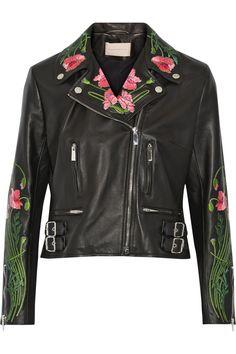 Christopher Kane | Floral-embroidered leather biker jacket
