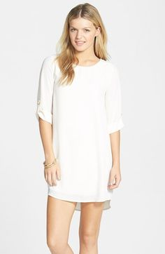 EVERLY Roll Tab Sleeve Shift Dress (Juniors) available at #Nordstrom $46.00