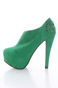 Green Faux Suede Spike Studded Closed Toe Ankle Booties - Booties - SHOES