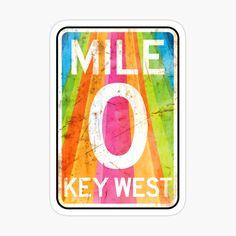 Key West Florida, Cool Stickers, Vintage Travel, Magnets, Vibrant Colors, Rainbow, Adventure, Art Prints, Printed