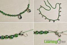 Make the first part of the green seed beads necklace