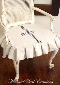 Pin for Later: 30 DIY Projects That Prove Drop Cloths Are a Thrifty Girl's Best Friend Chic Cushion Covers Add personality to any chair with Miss Mustard Seed's custom cover DIY. Drop Cloth Slipcover, Slipcovers For Chairs, Chair Reupholstery, Chair Covers, Cushion Covers, Seat Covers, Drop Cloth Projects, Diy Projects, Sewing Projects