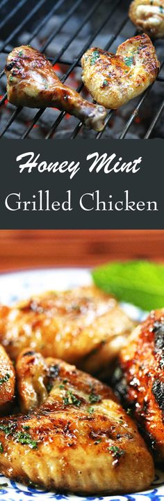 Grilled Chicken with a Honey Mint Glaze! Such a simple way to take grilled chicken over the top. #GrilledChicken #HoneyChicken #ChickenDinner