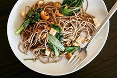 Garlic & Cashew Noodle Salad: Another amazing recipe from one of my favorite food blogs - Bitchin' camero