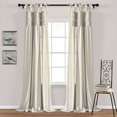 Lydia Ruffle Window Curtain Panels Neutral Set - Lush Decor your room with these gorgeous curtains. Rows of hand crafted horizontal ruffles across the top of these panels create a look that will instantly take your room from ordina Tab Top Curtains, Drapes Curtains, Large Window Curtains, Silver Curtains, Double Curtains, White Curtains, Colorful Curtains, Valances, Window Panels