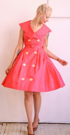 1950s Vintage // Pretty in Pink Double Button by dethrosevintage, $82.00
