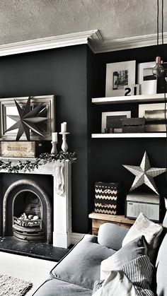 House: Adding Hygge to the Living Room Dark walls and a monochrome palette in our living room with Railings paint from Farrow & Ball adding a dark edge to this room. It is cosy and warm and we use open shelves to display vintage homeware Dark Walls Living Room, Living Room With Fireplace, Home Living Room, Living Room Furniture, Farrow And Ball Living Room, Cosy Grey Living Room, Black White And Grey Living Room, Dark Grey Rooms, Small Living Room Design