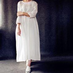 Women white HIGH-WAISTED linen loose dress
