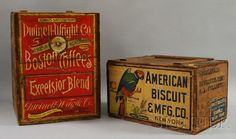 Dwinell-Wright Coffee Roasters, Boston Chromolithograph Labeled Wooden Retailers Box, and an American Biscuit & Mfg. Co., New York,...
