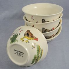 Paula Deen Southern Rooster 5 Soup Cereal Bowls Hand Painted Hen Chick Stoneware #PaulaDeen