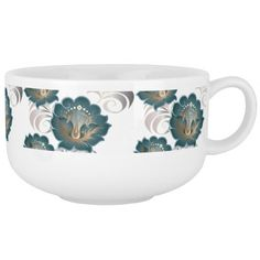 Large Abstract Green Flowers Soup Mug
