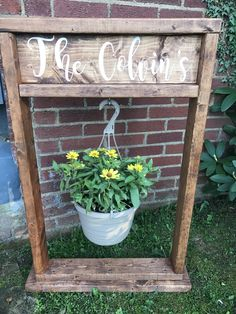 Holiday Special! Plant Stand Personalized Wood Planter Plant Pot Hanging Planter Hanger Tall Primitive Wooden Plant Stand Outdoor Porch by jenniferscott on Etsy https://www.etsy.com/listing/578479767/holiday-special-plant-stand-personalized