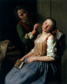 Gods and Foolish Grandeur: Sleeping Girl With Her Beau, by Pietro Antonio Rotari, circa 1750-55