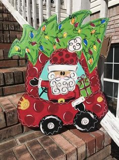 Christmas Front Doors, Christmas Truck, Christmas Gnome, Christmas Door, Burlap Crafts, Burlap Bows, Gnome Door, Wood Cutouts, Door Signs