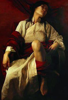 Artist: Liu Yuanshou [劉元壽] (Beijing b.1967), oil on canvas {figurative art female seated woman painting}