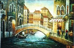 A painting of buildings and a bridge over a river