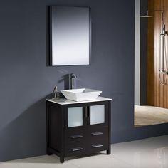 "Fresca Torino 30"" Espresso Modern Bathroom Vanity w/ Vessel Sink"