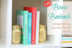 DIY Brass Bookends from A Thoughtful Place blog (inspired by @Sherry @ Young House Love)