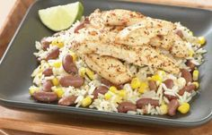 Tex Mex Casserole | It may be winter, but dinner tonight is hot and spicy. Boneless chicken breast strips top a good-for-you high fiber mix of rice, red kidney beans, and corn that is flavored with Mrs. Dash® Extra Spicy Seasoning Blend.