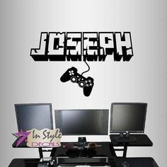 Wall Vinyl Decal Home Decor Art Sticker Personalized Name Boy Girl Gamer Controller Video Game Teen Computer Games Room Design 2443 - game room ideas Boys Game Room, Boy Room, Kids Room, Game Room Decor, Room Setup, Video Game Bedroom, Computer Gaming Room, Computer Setup, Computer Tips