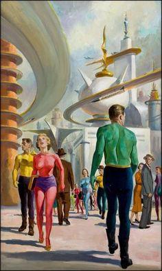 Retro futurismo Sci-Fi via Fernando Haro Arte Punk, Arte Sci Fi, Sci Fi Art, Pub Vintage, Vintage Space, Future City, Comics Illustration, Illustrations, Cyberpunk