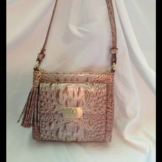 Brahmin embossed croc shoulder bag Stunning Brahmin convertible cross body in champagne colored leather burnished with gold! Amazing bag, very classy ! NWOT Brahmin Bags Shoulder Bags